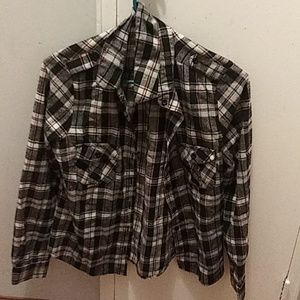 Womens black and white fitted flannel